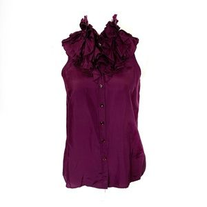 J crew Kelsey ruffled 100% silk Purple Top Sz 2